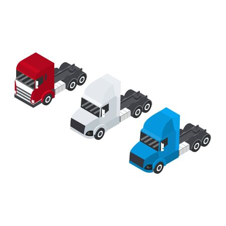 Set of trucks or trailer in an isometric view. Container for transport Delivery of cargo. Red, white and blue.
