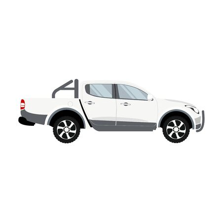 Pickup truck white color double cabin design vector