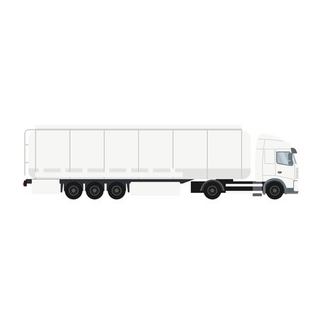 Trailer truck with cistern. Heavy transport vehicle Ilustracja