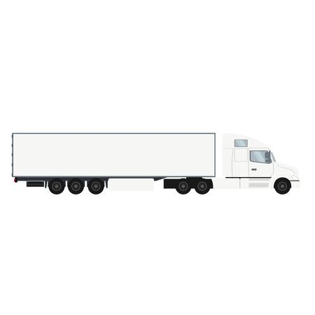 Container trailer truck with cold room. Heavy transport vehicle