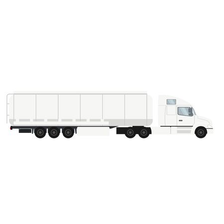 Container trailer truck with cistern. Heavy transport vehicle
