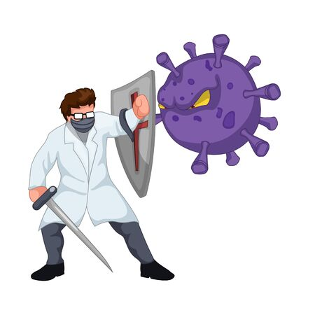 Doctor with mask fighting covid-19 coronavirus Illustration
