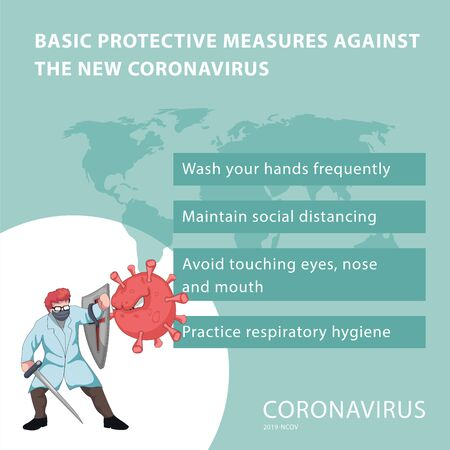 Infographic on basic protection to prevent the covid-19 virus Illusztráció