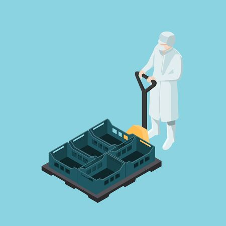 Food industry worker driving a manual forklift with plastic boxes isometric.