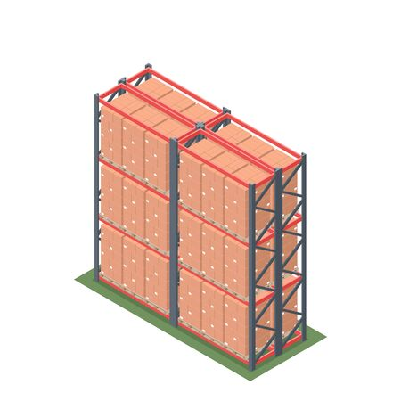 Isometric design of warehouse rack with pallet