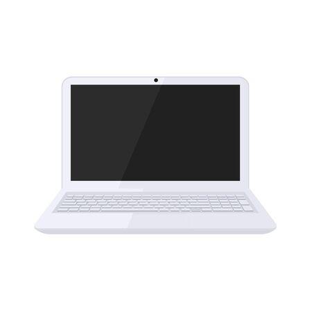 Modern laptop design in black and white color Vettoriali