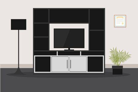 Design of modern furniture for living room TV Illustration