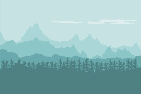 Landscape background of mountains with forest Vettoriali