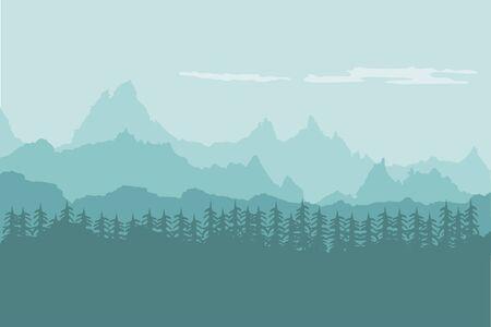 Fondo de paisaje de montañas con bosque Ilustración de vector