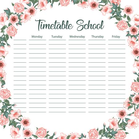 Creative school schedule card with flower arch and leaves background