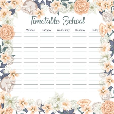 Creative school schedule card with flowers and leaves background