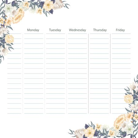 Creative school schedule card with flowers background