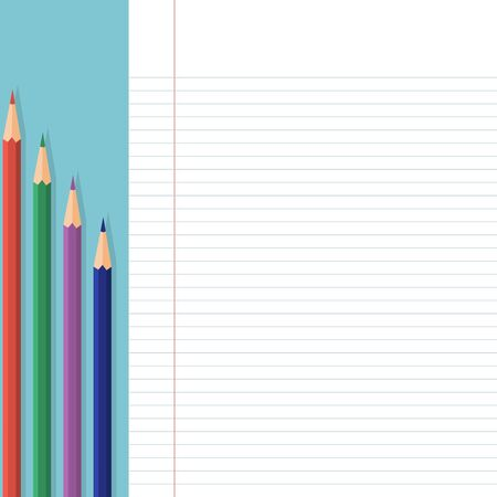 School timetable card with background color pencils theme Stock Illustratie