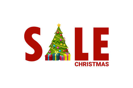 Sale letters card with christmas tree