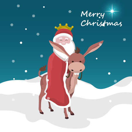 Christmas card of santa claus of king magician mounted on a donkey