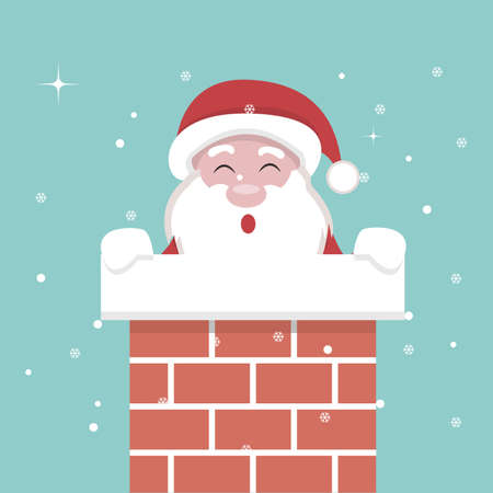 Christmas card of Santa Claus inside the fireplace
