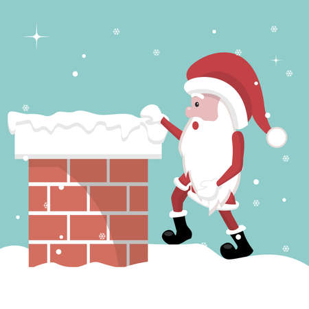 Christmas card of Santa Claus entering the fireplace
