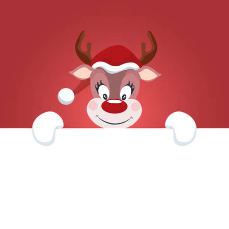 Reindeer Christmas card with white background to write