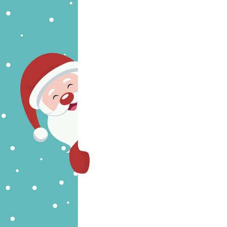 Christmas card of Santa Claus peeking on white poster to write