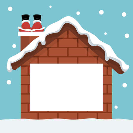 Christmas card with house and santa claus chimney
