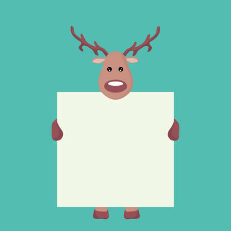 Reindeer Christmas card holding a white sign