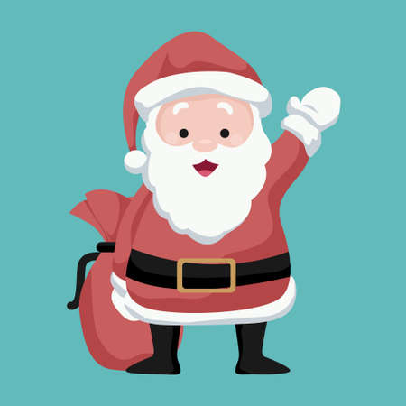 Christmas card Santa Claus waving joyfully with his bag of gifts