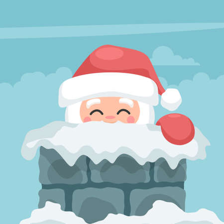 Design of santa claus peeking out of the fireplace on merry christmas card