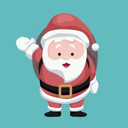 Christmas card Santa Claus waving cheerful