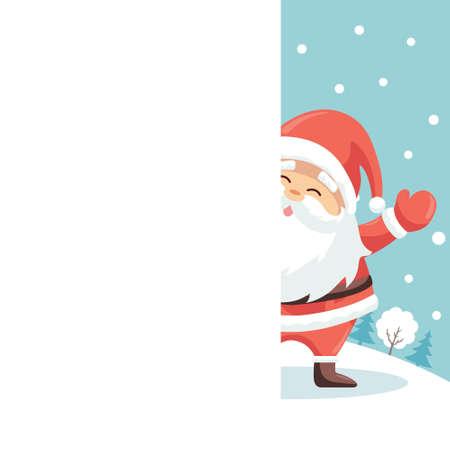 Merry Christmas card design of Santa Claus raising his hand