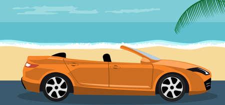 Convertible modern car background on summer beach