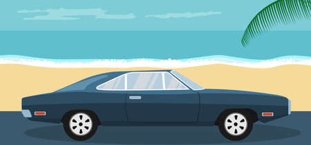 Background of a blue classic car parked on the beach in summer