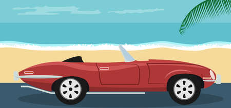 Background of a convertible classic red car parked on the beach in summer Vecteurs