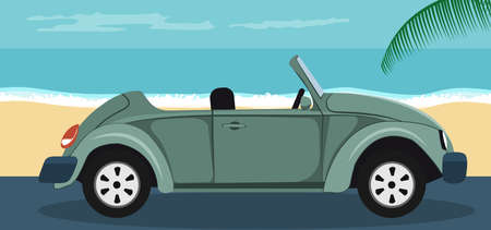 Background of a convertible green classic car parked on the beach in summer
