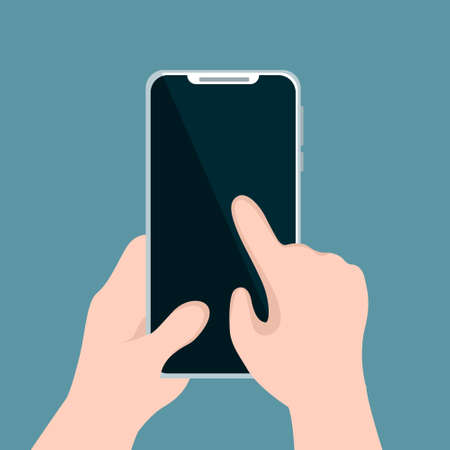 Person holding cellphone and pointing with his hand