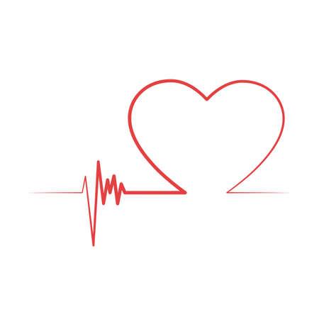 Heart shaped valentines life line Ilustración de vector