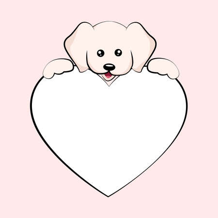 Baby dog valentines card with heart dedication to write