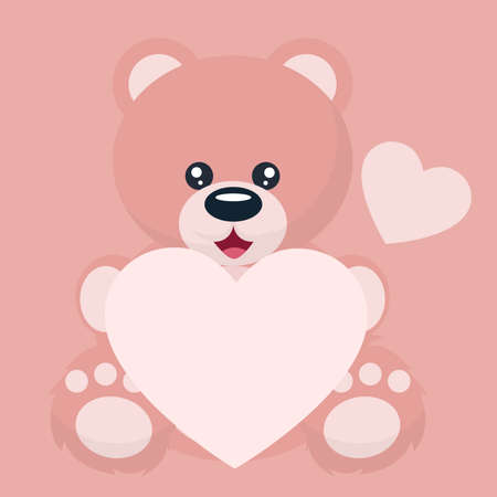 Baby bear valentines card with heart dedication to write Vectores