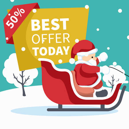 Design of santa claus in his sleigh with sale poster