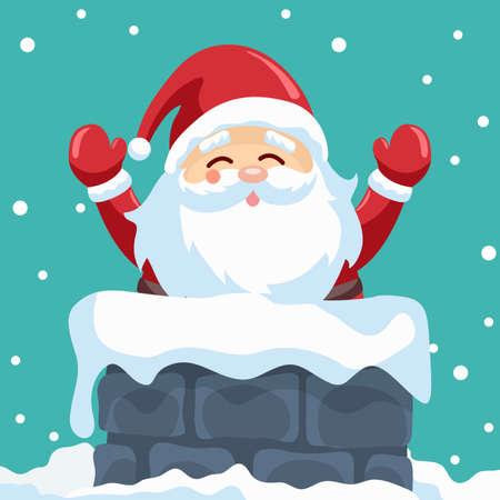 Santa claus design in chimney on christmas night