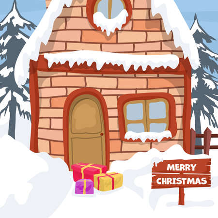 Landscape design with winter house for christmas card