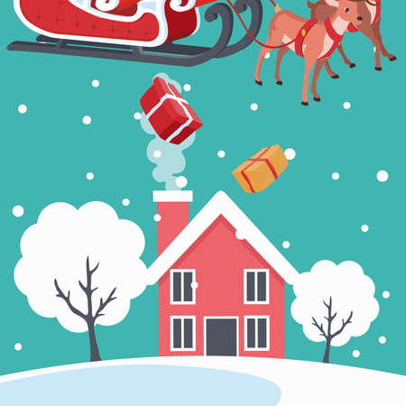 Landscape design with house and santa claus giving gifts