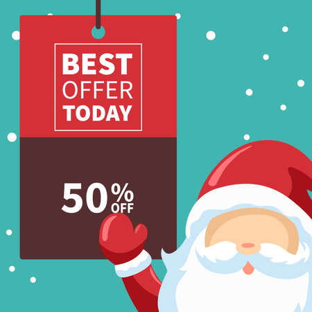 Santa claus design with christmas offers poster