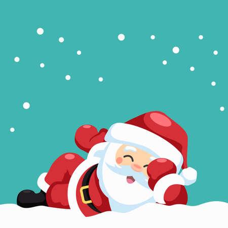 Design of happy santa claus lying down