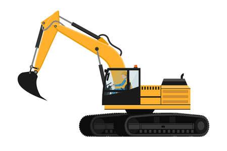 Crawler excavator design with heavy machinery driver Vetores