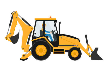Heavy Machinery Driver Backhoe Design Vettoriali
