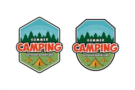 Summer Camping outdoor adventure design Illustration