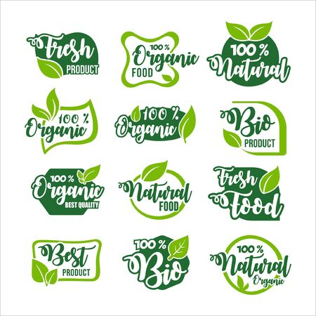 Organic Food Product Label Collection Vettoriali