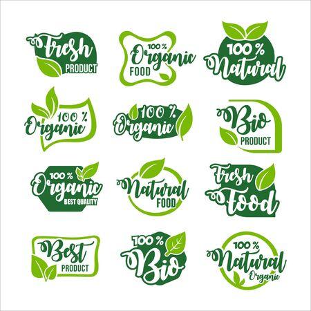 Organic Food Product Label Collection Ilustração Vetorial