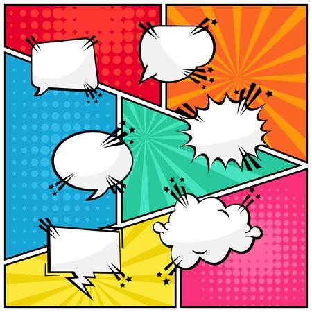 Comic specch bubbles text blank pop art style