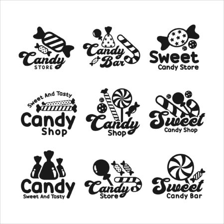 Candy shop sweet and tasty logos Illustration